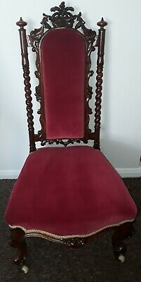 Victorian Rosewood, carved chair Cabriole legs porcelain castors *Make an Offer*