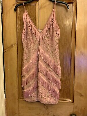 Ladies Pretty Little Thing Size 12 Body Con Dress Tassles Pink
