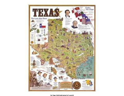 "LARGE Animated Texas Map - Modern Print - 30""-38""- Old History Flags INCREDIBLE!"