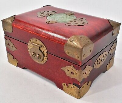 FINE Vintage CHINESE Rosewood Decorative BRASS Carved JADE Trinket JEWELRY BOX
