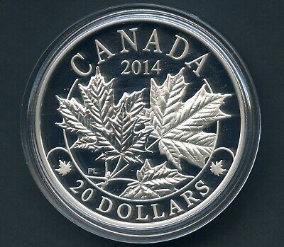 2014 Canada 20$ Majestic Maple Leaves Silver Coin In Capsule With COA