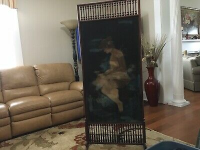 Antique Victorian Dressing Screen Room Divider Turned spindles 1890s Era