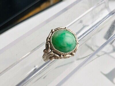 Antique Vintage Chinese Export Silver Filigree Round Jade Ring Adjustable
