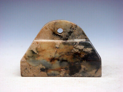Old Nephrite Jade Stone Carved Rectangular Seal Paperweight Sculpture #08241902C