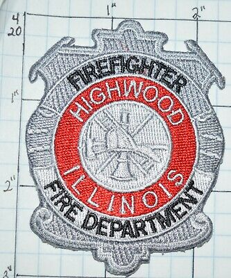 """Illinois fire patch 3.5/"""" round size Highwood  Fire Dept."""