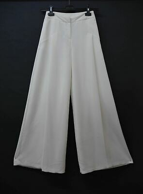 OUTLINE Ladies District White Pleated Wide Leg Palazzo Pants Trousers UK8 NEW