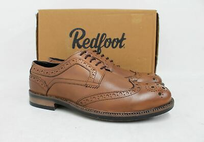 REDFOOT Men's Johnson Tan Brown Leather Lace Up Brogue Derby Shoes UK9 EU43 NEW