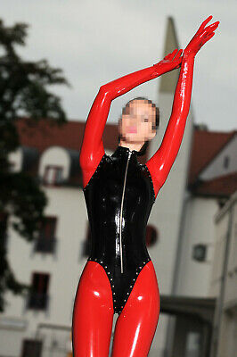 Latex Rubber Catsuit Tight Red and Black Overall Cosplay Bodysuit 0.4mm S-XXL
