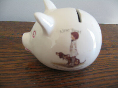 "Holly Hobbie Porcelain Piggy Bank ""A True Friend Is The Best Possession"""