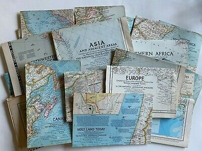 NATIONAL GEOGRAPHIC Inserts/Maps - Lot of 25 from 1940s up - List in description
