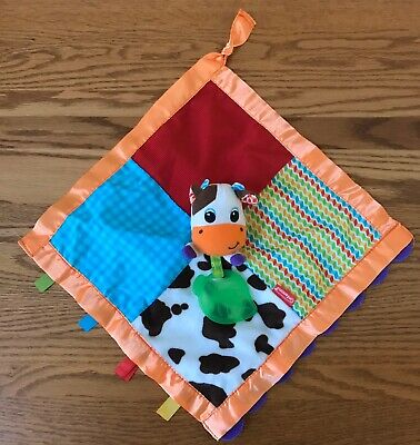 Infantino Cow Security Blanket Lovey w/ Leaf Teether Bright Patchwork