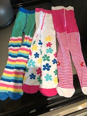 M&S Girl Tights 3-4 Years Flower Stripy 3 Pairs