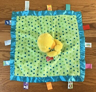 Taggies Yellow Duck Lovey Security Blanket Blue Green Polka Dots Satin Edge