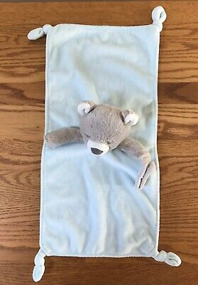 Carters Blue Teddy Bear Security Blanket Lovey Rattle Pacifier Holder