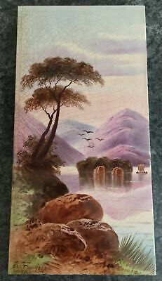 "EXCELLENT antique handpainted 12"" x 6"" ELLENS ISLE LOCH KATRINE TILE"