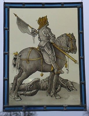 "Leaded Glass Old Window Image Stained Glass "" Dragon Slayer """