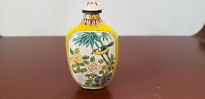 ANTIQUE 19th CENTURY CHINESE EXPORT ENAMEL SNUFF BOTTLE BIRD BUTTERFLY & FLORA