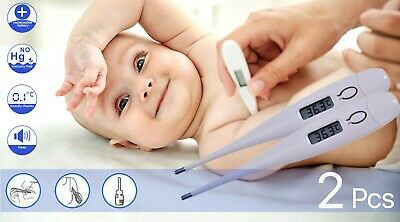 2x LCD Child Adult Medical Oral Armpit Digital Thermometer Audible Fever Testing