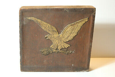 Antique Vintage Folk Art Carved Walnut American Eagle Wooden Relief Block Plaque