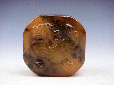 Vintage Nephrite Jade Stone Carved Seal Paperweight FOO DOG LION #10161901C
