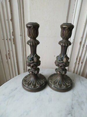 FABULOUS Pair Old Vintage French BARBOLA GESSO CANDLEHOLDERS Thick Roses Flowers