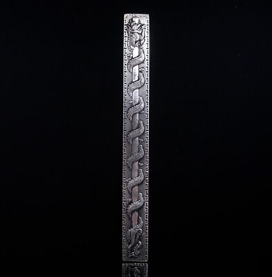 Tibetan Silver Paperweight *Curly Dragon On Pole* Carved 4.8 OZ #04062005