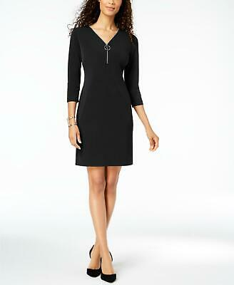 JM Collection 1226 Size Large L Womens NEW Black Solid Sheath Dress Ruched $59