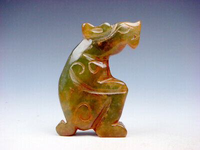 Old Nephrite Jade Stone Carved Sculpture Ancient Monster Dragon #08061903C