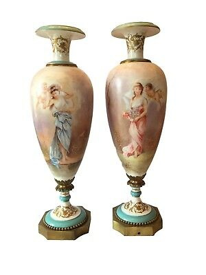 Monumental Antique Pair of Sevres Hand Painted Porcelain Gilt Bronze Vase