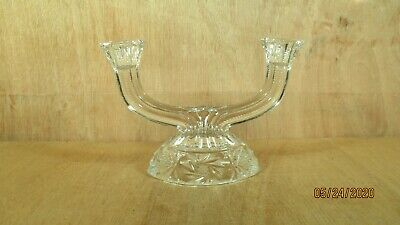 "Vintage Pinwheel Crystal Glass Double Candle Holder 8"" W x 6"" H"