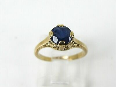 Antique 10k Yellow Gold Natural 1ct Blue Sapphire Filigree Ladies Ring 2.0g