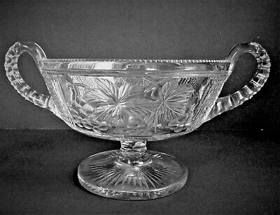 Large AMERICAN BRILLIANT Etched GRAPES Cut Glass FOOTED HANDLED BOWL ABP CRYSTAL