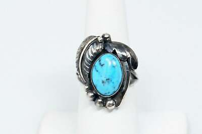 Vtg Southwestern Navajo Turquoise Oxidized Feather Sterling Silver Ring Sz 7.75