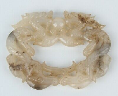 Antique Chinese Hetian Jade Carved Double dragon
