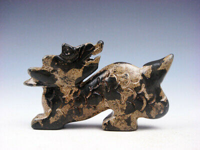 Old Nephrite Jade Stone Carved Sculpture Furious Dragon Looking Back #01052005