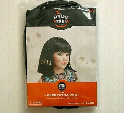 Halloween Black Cleopatra Wig Cleo Full Wig with Bangs Egyptian Costume G0628