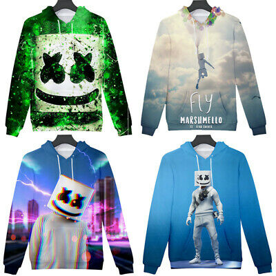Marshmello DJ Mask Kids Boys Girls Hooded Pullover Tops Cotton Hoodies Age 3-13Y