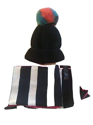 Next Navy Blue & White Striped Scarf And Primark Navy Blue Bobble Hat