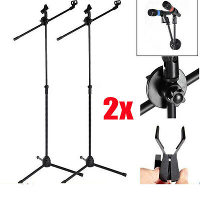 2X 360°Professional Boom Microphone Mic Stand Holder Adjustable With Free Clips