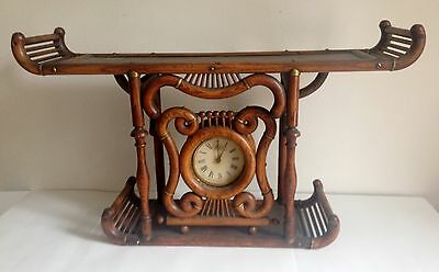 Antique Ball And Stick Curly Bentwood Oak Clock And Shelf Pat 1897