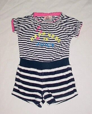 EUC Juicy Couture Girls Navy Blue & White Striped Terry Romper 3-6 M