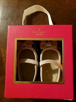 Kate Spade Infant Baby Girl Shoes Size 3 6-9 Months Lace mary Jane's bow box