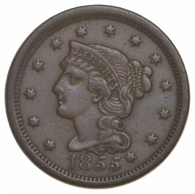 1855 Braided Hair Large Cent - Charles Coin Collection *372