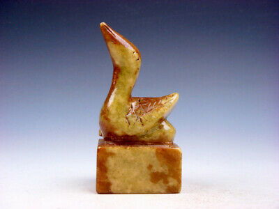Old Nephrite Jade Stone Carved Seal Paperweight Ancient Swan Top #01062005