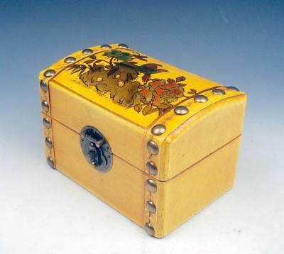 Yellow Finished Leather Birds Flowers LARGE Wooden Jewelry Box #03291401