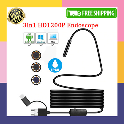 Pipe-Inspection Camera Endoscope Video Sewer Drain Cleaner Waterproof USB Snake