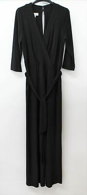 HOBBS Ladies Black Jordana Short Sleeve V-neck Wrap Up Belted Jumpsuit UK10 NEW