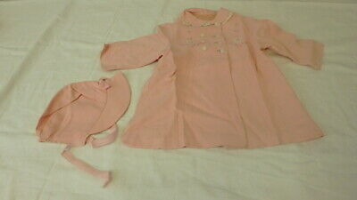 VTG 1950s Pink Floral Embroidered BABY GIRL or doll Coat & Bonnet