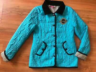 Girls Blue Quilted PINEAPPLE RIDING JACKET (age9-10) *NICE COND*