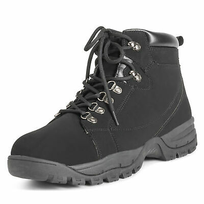 Mens Hiker Steel Toe Cap Safety Durable Work Rubber Sole Leather Boots UK 6-14